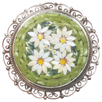 Vintage Micro Mosaic Daisy Filigree Silver Tone Pin