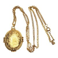 Vintage Brass Embossed With Flowers Double Sided Locket