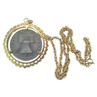 Vintage Bicentennial  1776 to 1976 Liberty Bell Pewter Coin Pendant Necklace