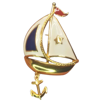 Vintage Avon Red White And Blue Sail Boat Dangle Pin
