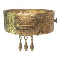 Victorian Revival Embossed Floral Brass bracelet