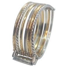 Vintage Brighton Six Layer Hinged Patterned Silver Tone And Gold Tone Bracelet