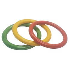 Vintage Bakelite Set Of Three Bangle Bracelets Orange Green Yellow