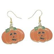 Vintage Enamel Halloween Jack-o-Lantern Pierced Earrings