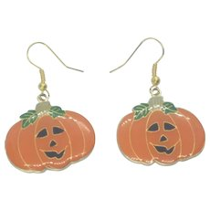 Vintage Enamel Halloween Jack-o-Lantern Pierced Earrings