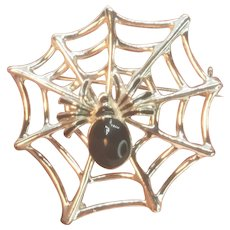 Vintage Halloween Spider on Web Pin by San Francisco Jewelry Company