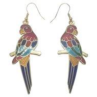 Vintage Cloisonne Parrot Enamel Earrings