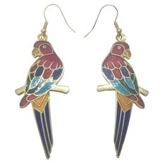 Vintage Cloisonne Parrot Enamel Earrings