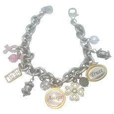 Vintage Brighton Breast Cancer Awareness Charm Bracelet
