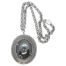 Vintage Whiting And Davis large Chain Necklace And Hematite Pendant