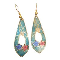 Vintage Cloisonne Enamel Butterfly And Flower Earrings