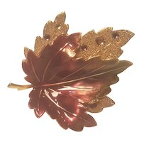 Vintage Layered Fall Leave Beautiful Warm Enamels And Rhinestone Accents