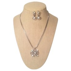 Vintage Brighton Necklace With Two Layer Chain Accented With Rhinestone Set