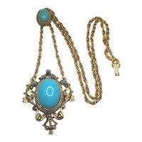 Vintage Florenza Necklace Unsigned Robin Egg Blue Glass Cabochon Flourish Pendant