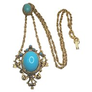 Vintage Florenza Necklace Unsigned Robin Egg Blue Glass Cabochon Flourish Pendant