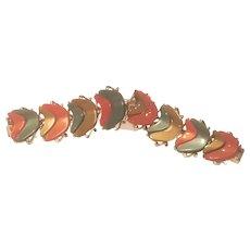 Vintage Lucite Thermoset Fall Colors Panel Bracelet