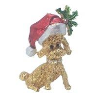 Vintage Christmas MYLU Santa Poodle Dog Pin