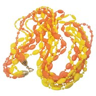Vintage Orange And Yellow Lucite Beaded Necklace 32 Inches