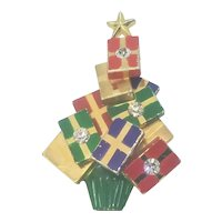 Vintage Christmas Tree Pin Stacked Packages And Rhinestones