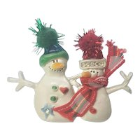 Vintage Christmas Snowman Pin Couple With Hats and Scarf