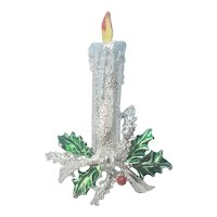 Vintage Christmas Gerry's Silver Tone Candle Pin On Holly Branch