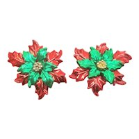 Vintage Christmas Poinsettia Enamel Pierced Earrings