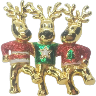 Vintage Christmas Dancing Reindeer's Pin By AJC
