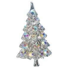 Vintage Silver Tone Christmas Tree Pin Beautiful AB Rhinestones