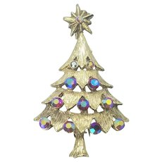 Vintage Christmas Tree Pin Layered Tree With Beautiful Red Ab Rhinestones