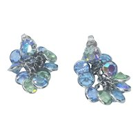 Vintage Crystal Ab Round Blue And Green Dangle Disk Clip Earrings