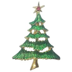 Vintage Christmas Tree Pin Layered Enamel Tree Branches Star