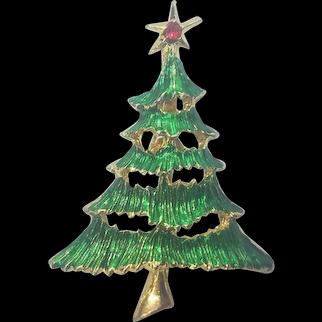 Vintage Christmas Tree Pin Layered Enamel Tree Branches Star
