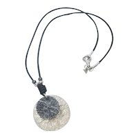 Vintage Silpada Sterling Silver With Two Oxidized Hammered Disks Pendant On Leather