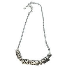 Vintage Brighton Silver Plate Barrel Slider Necklace
