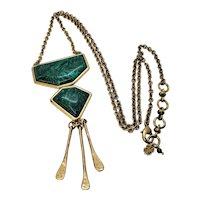 Vintage Lucky Brand Malachite Brass Necklace and Pendant