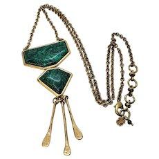 Vintage Lucky Brand Malachite Brass Necklace and Pendant