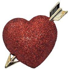 Vintage Enamel Glittered Heart And Arrow Pin