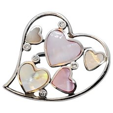 Vintage Sterling Silver Heart With Mother Of Pearl Pink Hearts and CZ Stones