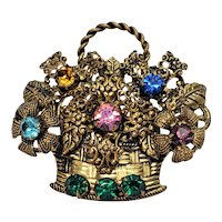 Vintage Unsigned Western Germany Flower Basket Pin With Rhinestones