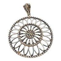 Vintage Milor Italy Sterling Silver Filigree Daisy Pendant
