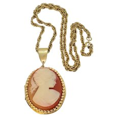 Vintage Large Resin Cameo Locket Lady With Pony Tail