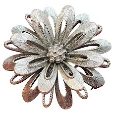 Vintage Monet Silver Tone Layered Flower Pin