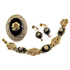 Vintage Celebrity Gold Tone Filigree Black Glass Rose Pin Pendant Bracelet Earrings Set