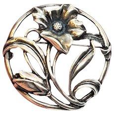Vintage Art Nouveau Sterling Silver Floral Circle Brooch