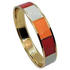 Vintage J Crew Red Orange White Enamel Bangle Bracelet