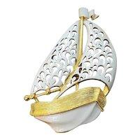 Vintage J.J. White Enamel Sailing Ship