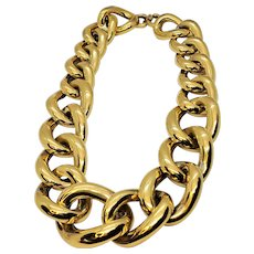 Vintage Givenchy Chunky Gold Tone Chain Statement Necklace