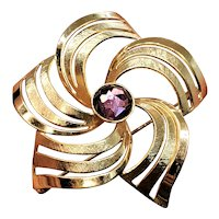 Vintage Gold Filled 10k Star Swirl Brooch
