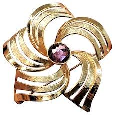 Vintage Gold Filled 10k Star Swirl Brooch