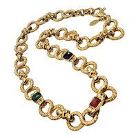 Vintage NHL Gold Tone Figure 8 Chain Linked Necklace With Glass Cabochon Stones